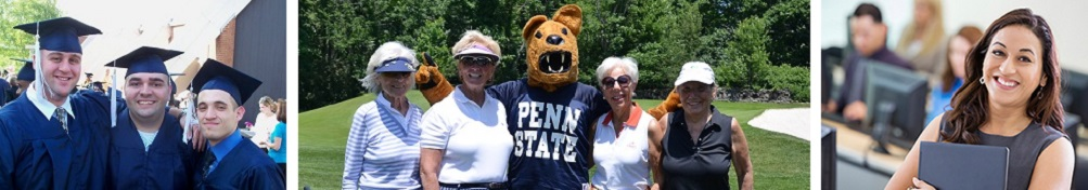 Three images of Penn State Alumni Graduates, Golfers and Student