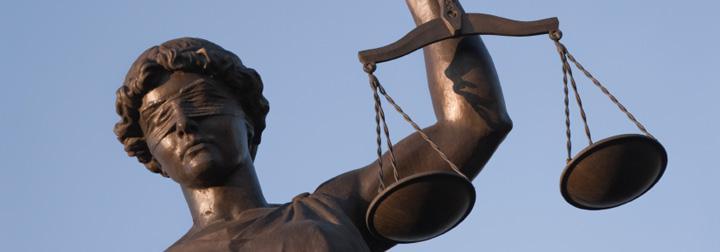 Bronze law statue