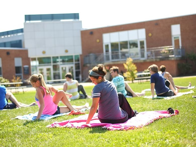 yoga class in courtyard