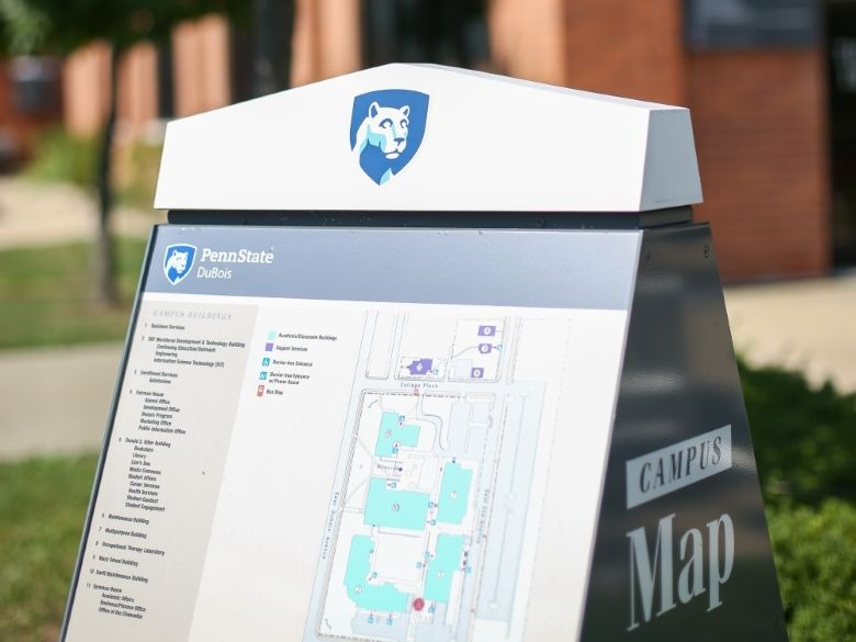 Campus Map Kiosk outside of Hiller
