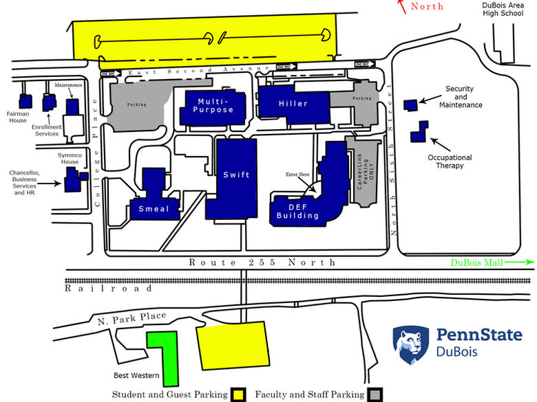 Map of the Penn State DuBois Campus, including buildings, parking, and roads.
