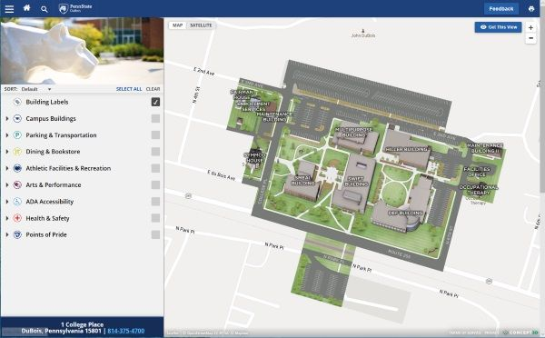 Youngstown State University Campus Map.Directions To Penn State Dubois Penn State Dubois
