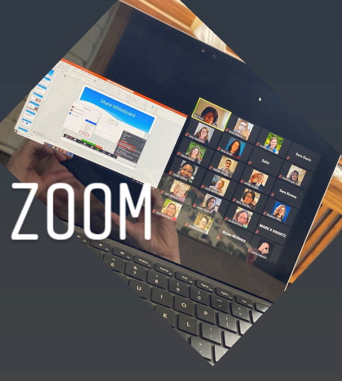 Zoom Session on a Surface Pro showing multiple participants and sharing PowerPoint