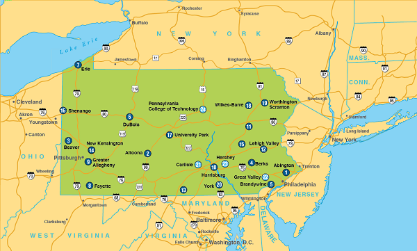Map of Pennsylvania, including Penn State Campuses and major roads.