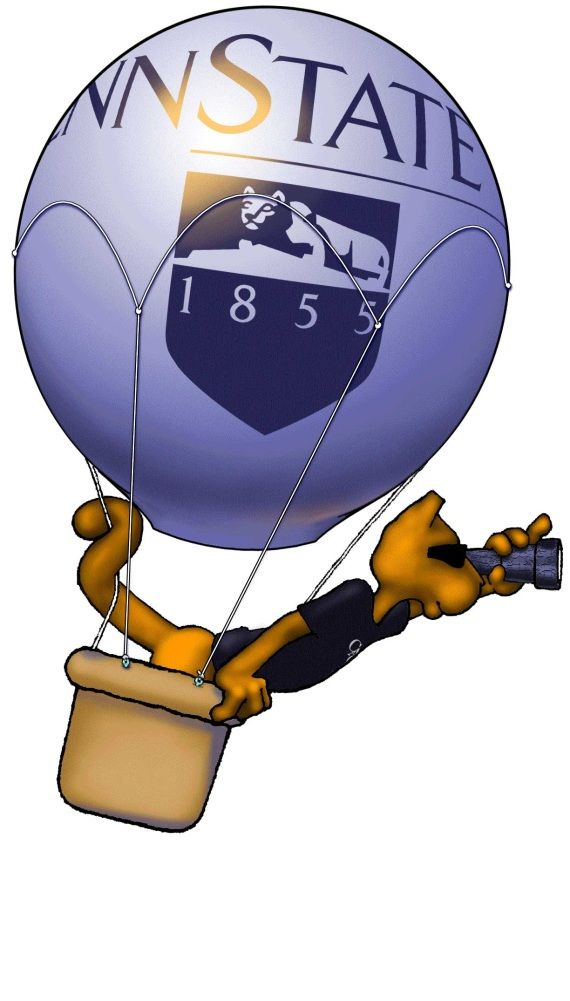 Penn State Lion in a hot air balloon looking to the future