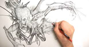 Hand pencil drawing of a monster