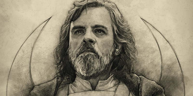 Black and white hand drawn portrait of a Star Wars Character