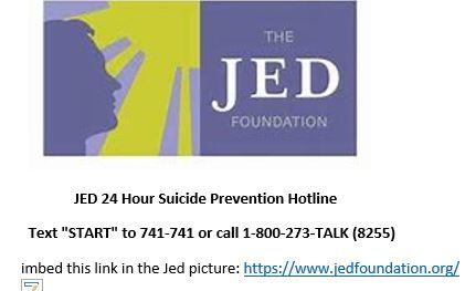 The Jed Foundation Jed 24 Hour suicide Prevention Hotline