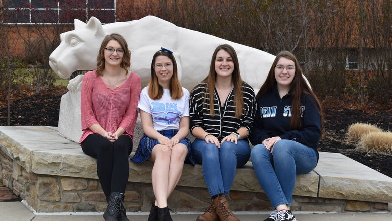 Penn State DuBois THON 2020 Dancers, left to right, Taylor Butler, Heather Witherow, Sarah Voris, and Lydia Holt.