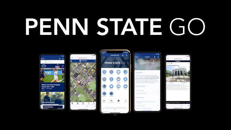 Screenshot of Penn State Go features on various mobile devices