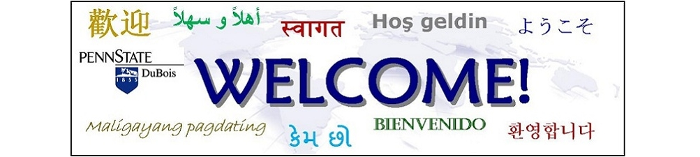 "International Services Welcome Banner with ""Welcome"" in multiple languages"